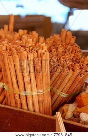 Cinnamon Sticks On The Market Place In Box