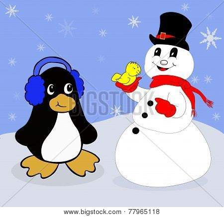 Snowman Holding a Bird with a Penguin