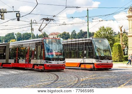 Tram At Old Street In Prague