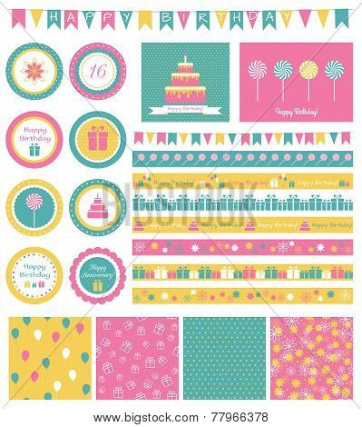 Set of birthday design elements.