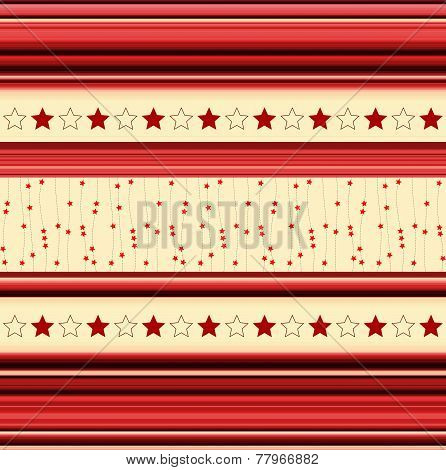 Stripey Background With Stars - In Red, Yellow