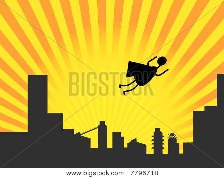 Stick figure superhero flies past bright sun burst