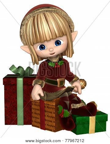 Cute Toon Christmas Elf with Presents