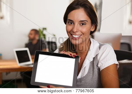 Young Entrepreneur Displaying Her Tablet Computer
