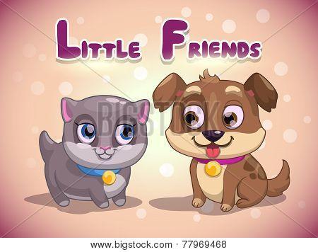Little cute kitten and puppy