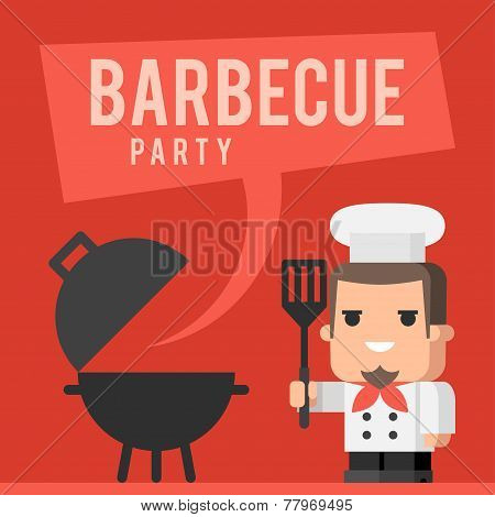 Chef and barbecue grill concept