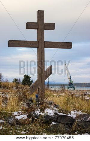 Wooden Cross On Old Pomeranian Cemetery