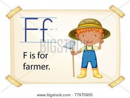 Illustration of letter F is for farmer