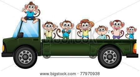 Illustration of many monkeys riding on a truck
