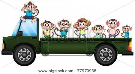 Illustration of many monkeys riding on a truck