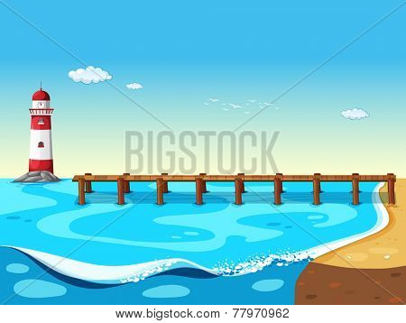 A lighthouse at the sea