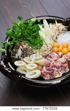 japanese chicken hot pot cuisine, kritanpo nabe with hinaizidori
