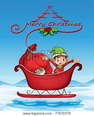 Illustration of a christmas card with an elf on a sledge