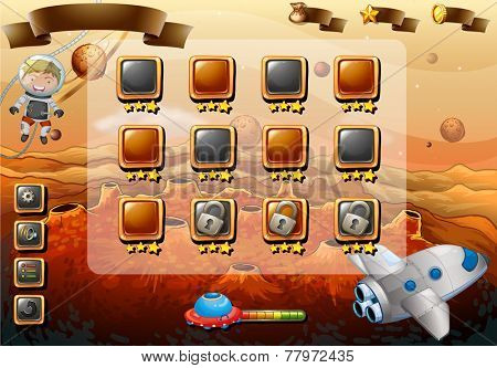 Set of icons and elements of game with space theme