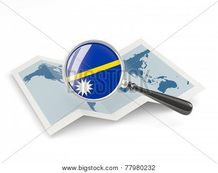 Magnified Flag Of Nauru With Map