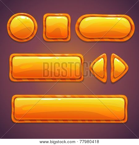 Set of orange cartoon glossy buttons