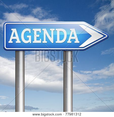 agenda schedule timetable and business organizing and planning time use for meetings and organize organization