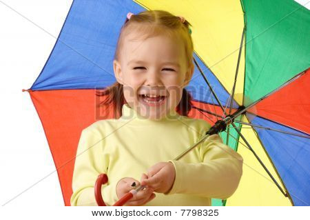 Cute Child With Colorful Umbrella