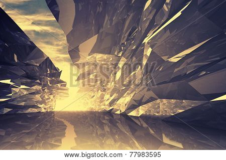 Abstract Digital 3D Background. Bent Crystal Corridor