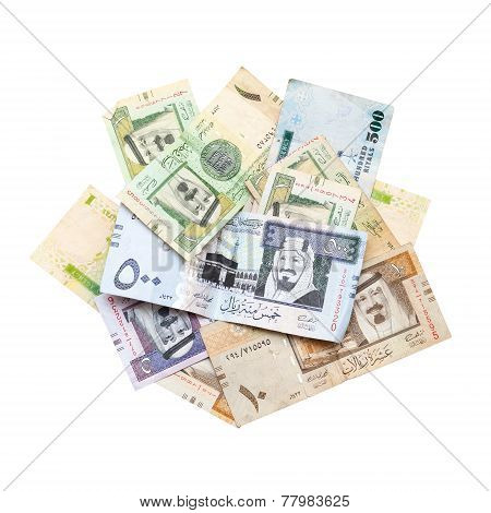 Pile Of Modern Saudi Arabia Money Isolated On White