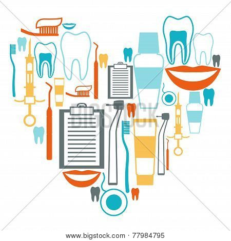 Medical background design with dental equipment icons.
