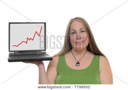 Woman Holding Laptop With Graph