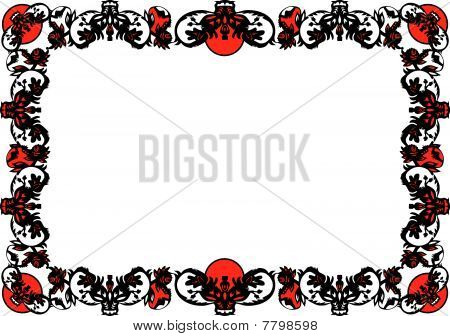 decorative black frame with red elements