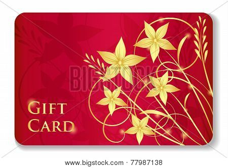 Luxury Red Gift Card With Golden Swirls And Flowers
