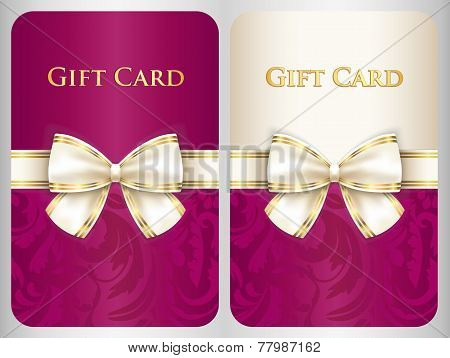 Scarlet Vertical Gift Card With Damask Ornament