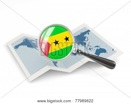 Magnified Flag Of Sao Tome And Principe With Map
