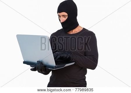 Burglar with leather gloves using laptop on white background
