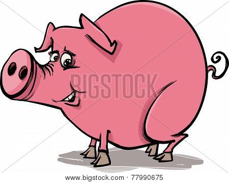 Farm Pig Cartoon Illustration