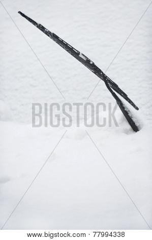 Car Windshield Wiper In Snow