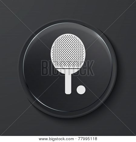 Vector modern black glass circle icon.
