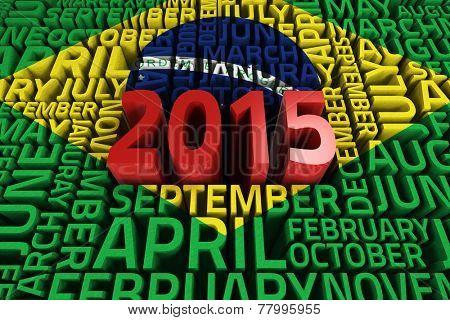 Brasil national flag against 2015 red