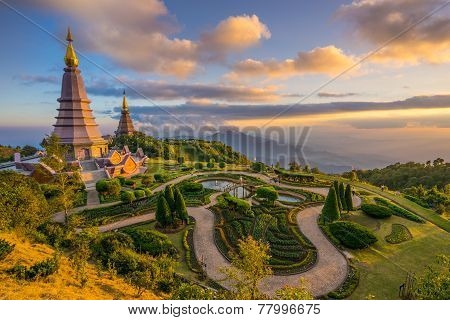 Landscape of two pagodas in an Inthanon mountain, Thailand.