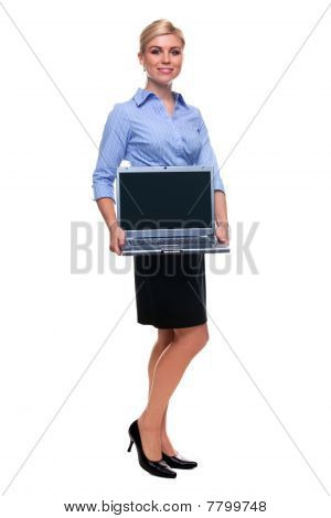 Full Length Woman Holding Laptop Computer With Blank Screen.