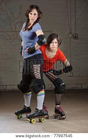 Female Roller Derby Skaters