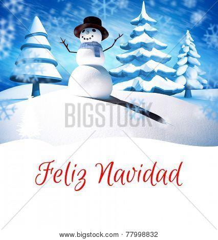 Feliz navidad against snow man