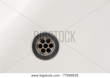 Overhead of drain in sink in a bathroom
