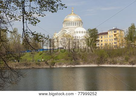 Kronstadt. Russia. View of the pool and dock Sea Cathedral.