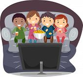 stock photo of watching movie  - Illustration of Kids Eating Popcorn While Watching TV - JPG