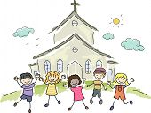 picture of stickman  - Illustration of Kids Standing Happily in Front of a Church - JPG