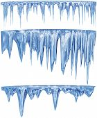 image of spike  - set of hanging thawing and melting blue dripping icicles - JPG