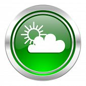 cloud icon, green button, waether forecast sign  poster