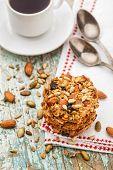 stock photo of baked raisin cookies  - Homemade oatmeal cookies with seeds - JPG
