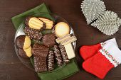 pic of shortbread  - Gourmet assorted chocolate dipped shortbread Christmas cookies - JPG
