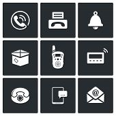 picture of telegram  - communication icon collection on a black background - JPG