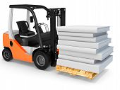 stock photo of pallet  - 3d forklift with pallet and stack of books on white background - JPG