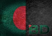 foto of bangladesh  - Old rusty metal sign with a flag and country abbreviation  - JPG